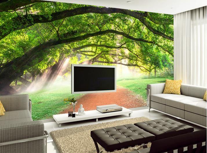 лес тень дерева тропа пейзаж фреска фон настенная роспись 3d обои 3D обои для рабочего стола для ТВ фон