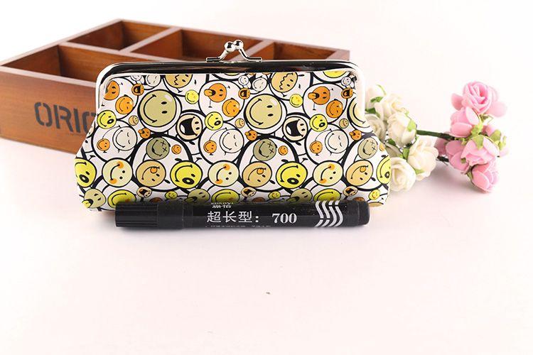 Cartoon Smiley Face Emoji Coin Purse Lady Long Size Snap Closure PU Leather Wallet Money Mobile Bank Card Bag Key Holder Handbag Pouch