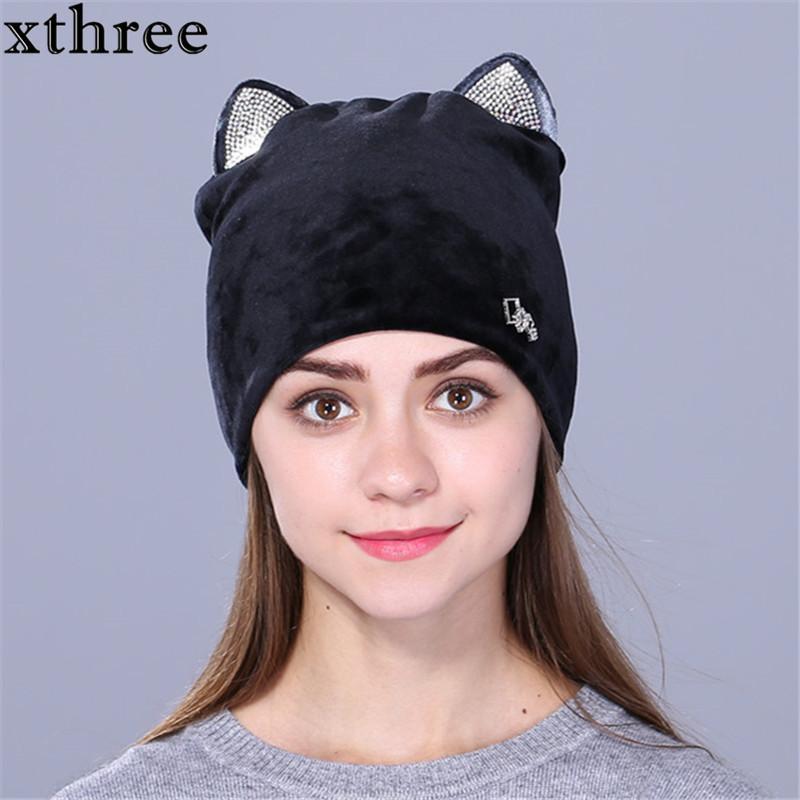 81e680a6a Xthree Flannelette Women Autumn Winter Hat Cute Kitty Children Beanies Hat  For Girls Skullies Gorras
