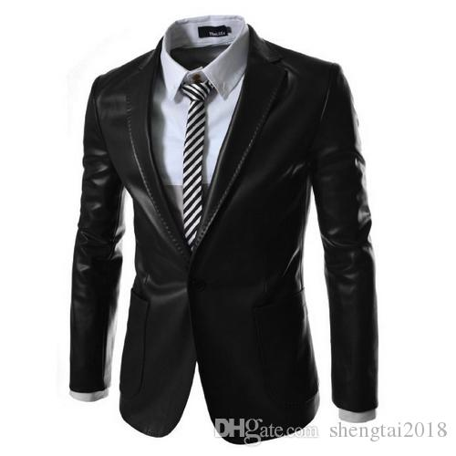 Autumn and winter Korean men's new men's fashion casual Slim solid color fashion collar collar leather suit men's clothing jacket tide