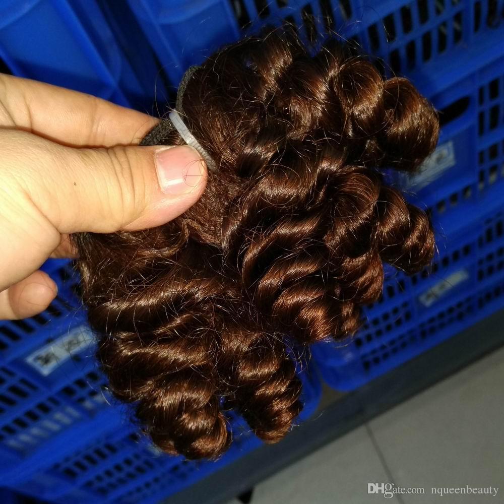 Cheveux humains indiens Jerry serrés bouclés / Non tissé Weave Extenion Plein coudre dans