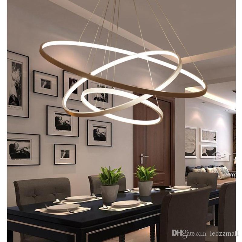 Compre luces colgantes modernas para comedor 3 2 1 anillos circulares cuerpo de aluminio - Luces para comedor ...