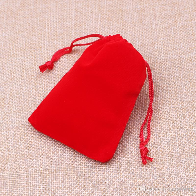 5x7cm Red Velvet Drawstring Pouch Bag Jewelry Bag,Christmas Wedding Birthday Easter Party Halloween Party Gift Bag
