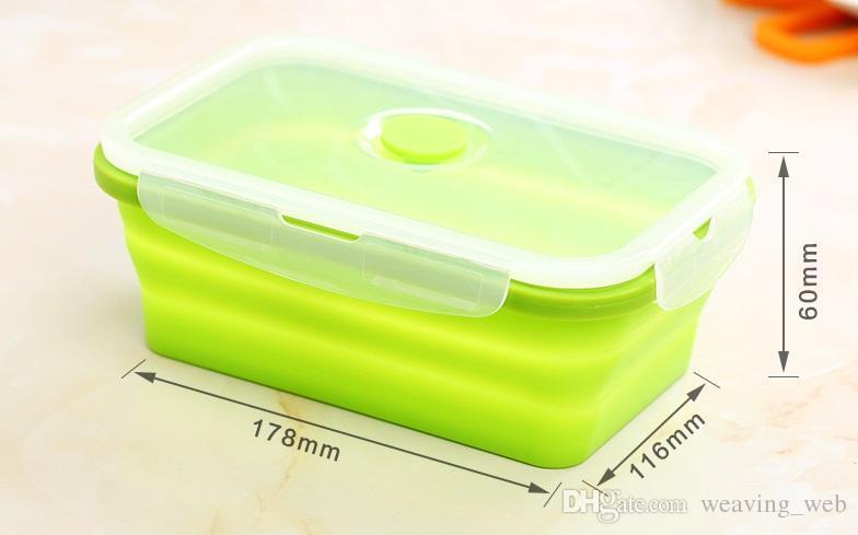 سيليكون قابلة للطي صندوق الغداء 750ML المحمولة حاوية الغداء بينتو صندوق تخزين للنزهة أو المنزلية