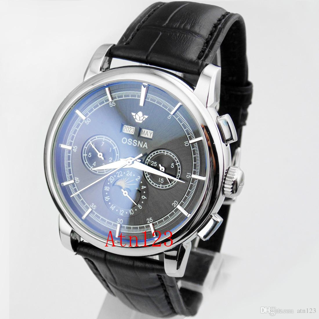 Ossna 42mm Black/White Automatic Mechanical Date Day Stainless Steel Watch 3ATM Water Resistantance Rating Wristwatch 1657/1671/1858