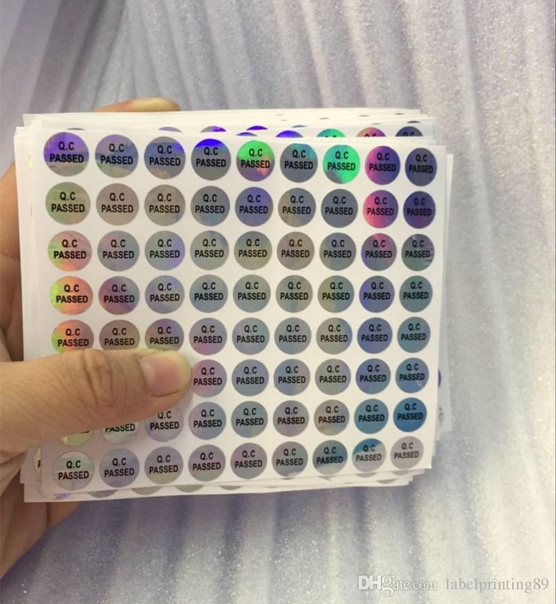 / 10mm hologramme anti-contrefaçon rond QC passez bouteille de bouteille hologramme autocollant auto adhésif étiquette