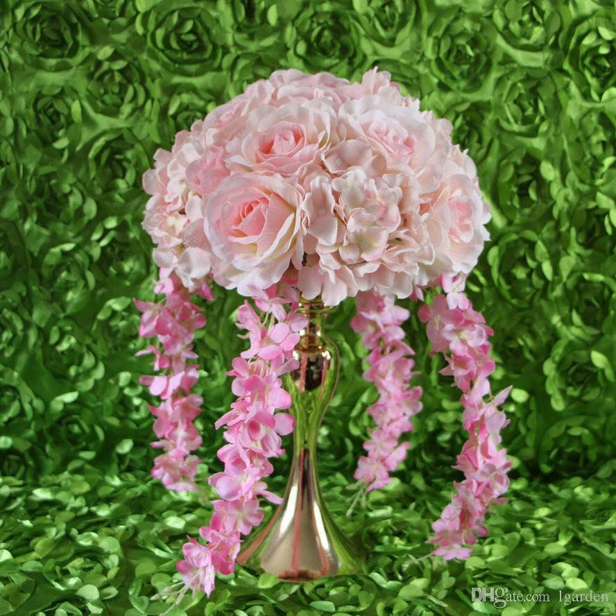 New product Wedding road lead artificial silk pink rose Wedding arch square pavilion corners decorative /