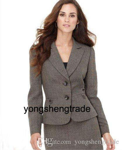 New Style Women Suit Gray Ladies Suits Two Button Jacket & Skirt Accept Custom Made 455