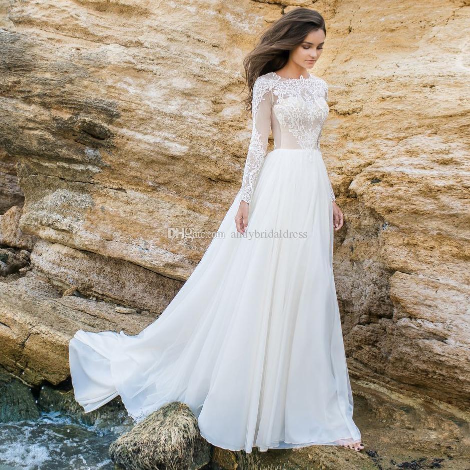 800b651a0ed4 Discount Long Sleeved Beach Wedding Dresses 2018 Eva Lendel Bridal Lace  Bodice Chiffon Skirt Jewel Neckline Chapel Train Wedding Gowns Sexy Wedding  Dresses ...