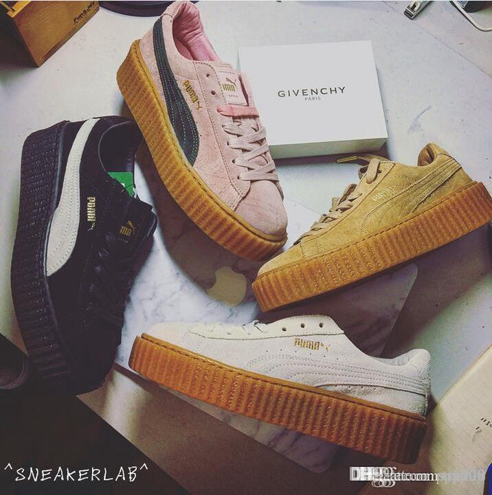 Купить Оптом 2017 Rihanna X Suede Puma Creeper Черный Белый Розовый Серый  Oatmeal Мужчины Женщины Кроссовки Мода Rihanna Обувь Кроссовки Внимание  Размер 36 ... 35bde111819