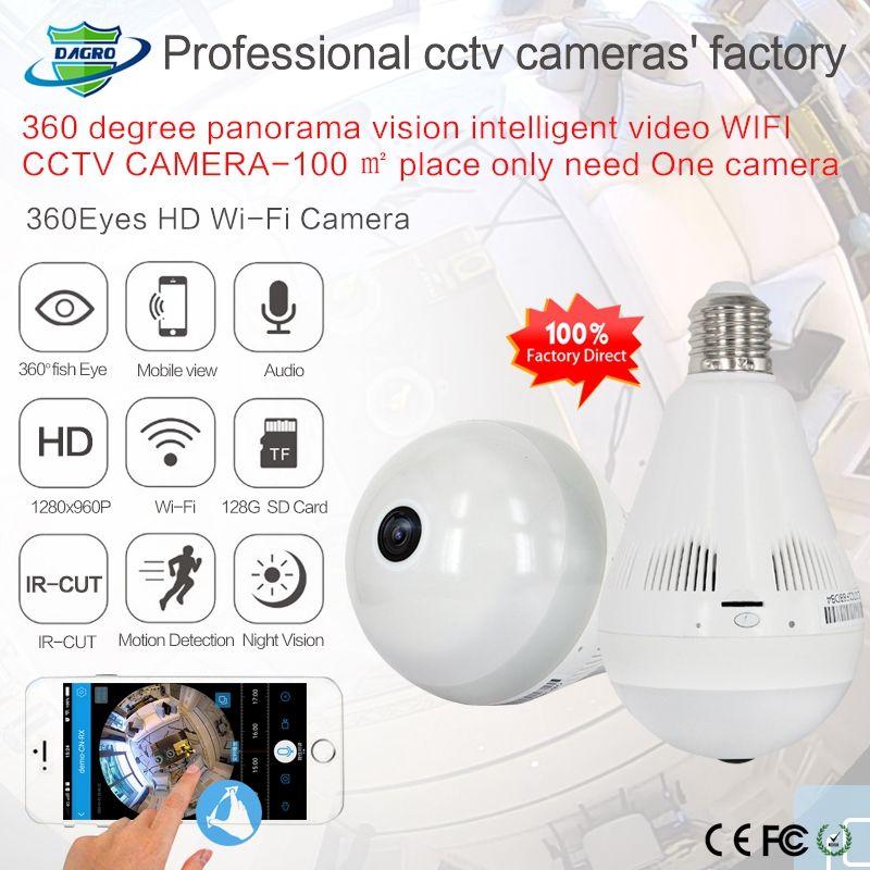 360 grados de la bombilla de la red de Wifi Wireless IP cámara HD 960P de la cámara del monitor del bebé de seguridad CCTV Cámara del bulbo de la cámara panorámica CE Red