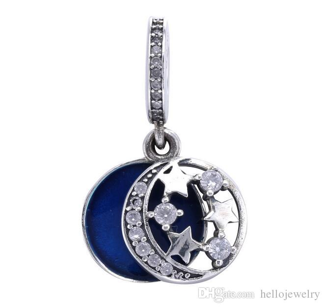 2018 Authenic 925 Sterling Silver Blue Star Moon Drop