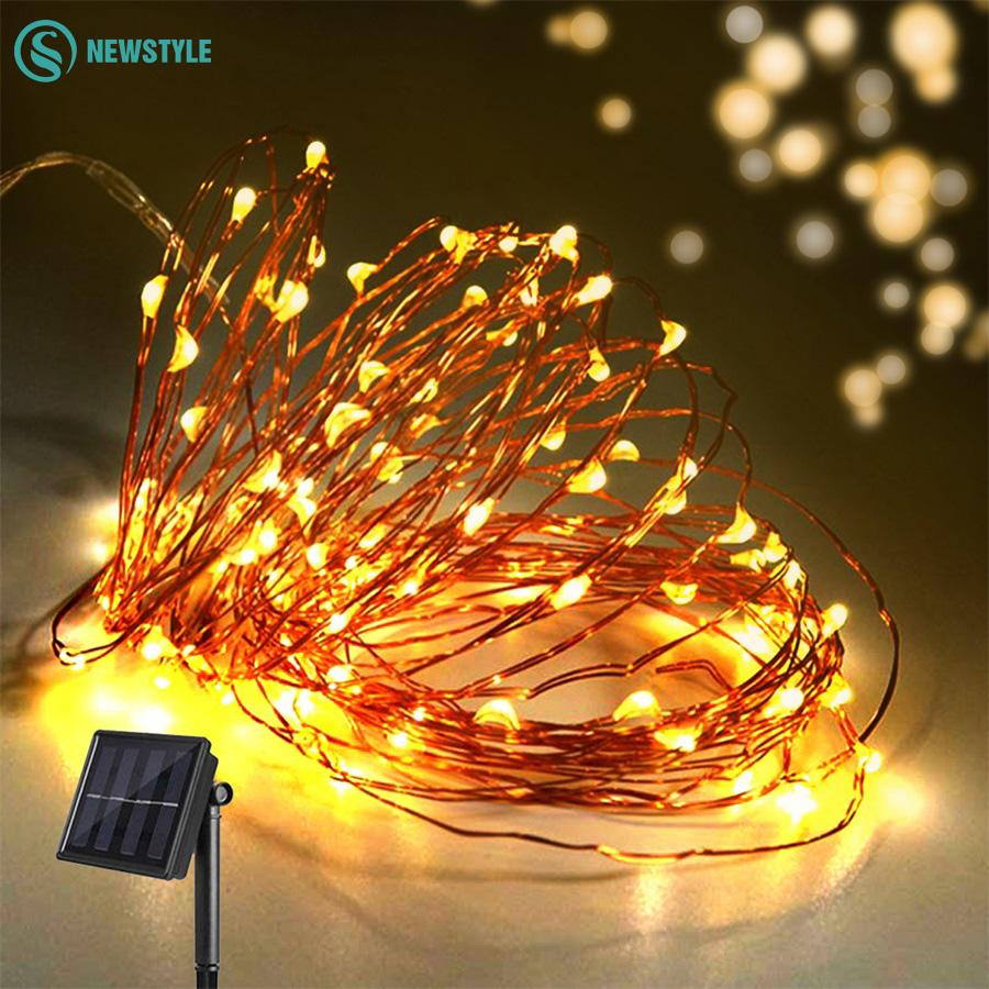 Wholesale 10m 8 Modes Solar Powered Led String Lights Copper Wire ...