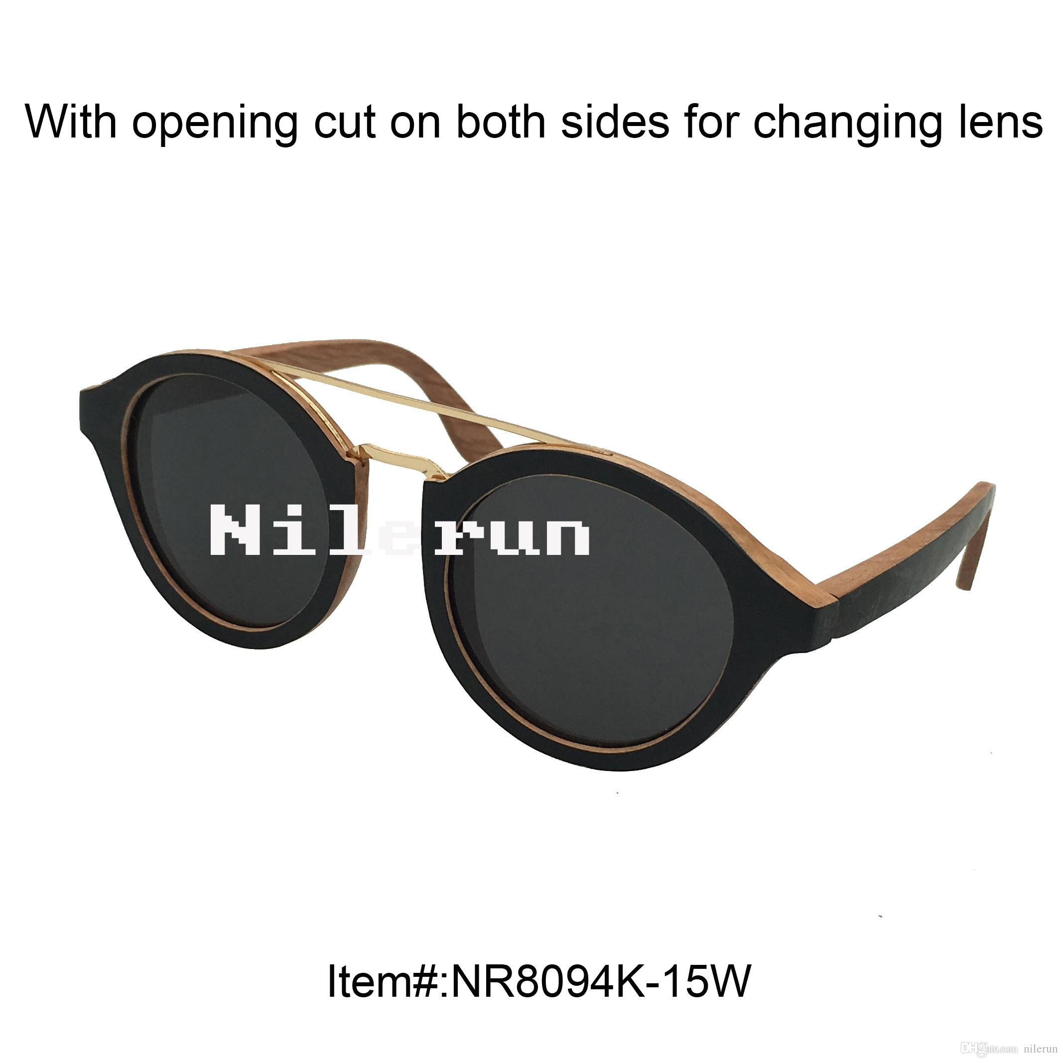 5a54c1b82f Double Metal Nose Bridge Round Black Wood Frame Sunglasses Round ...