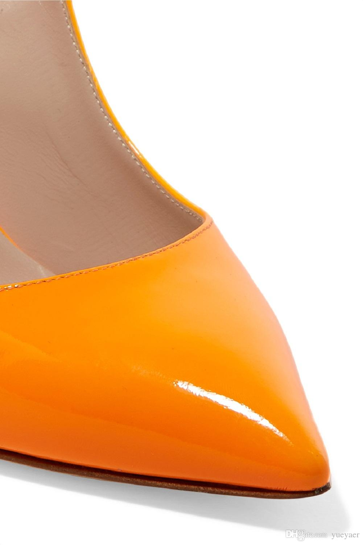 Zandina 새로운 도착 여자 손수 만든 특허 가죽 신발 Slingback 뾰족 높은 뒤꿈치 패션 파티 파티 프롬 펌프 오렌지