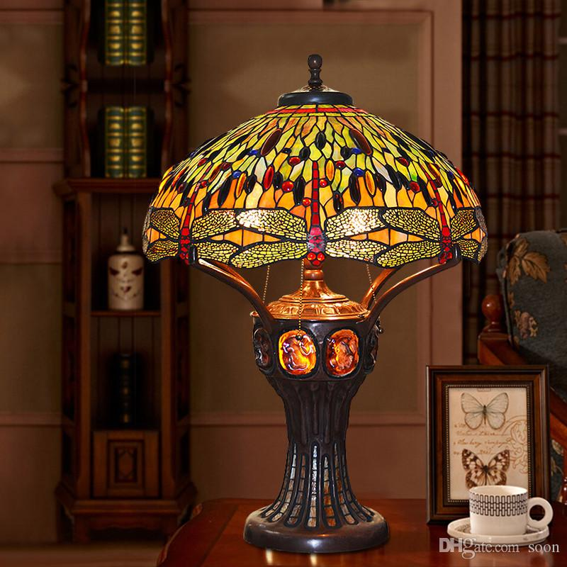 2019 Fumat Stained Glass Table Lamp Antique Dragonfly Living Room