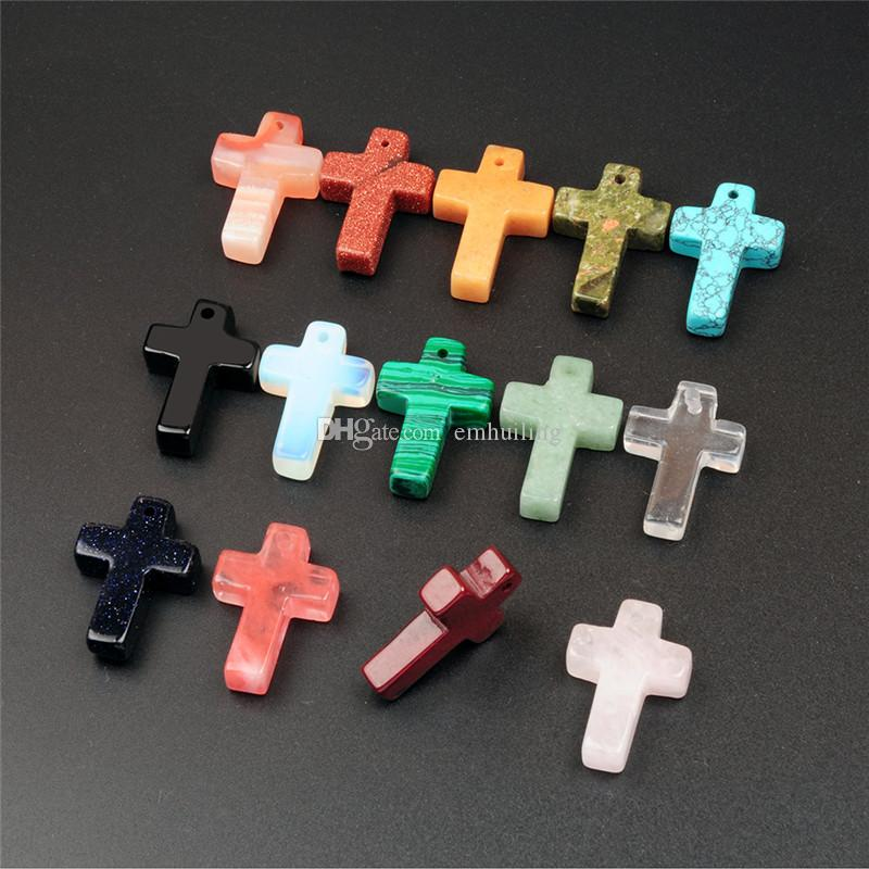 Mix Assorted Natural Carnelian Topaz Opal Stones Pendant Random Fancy Smooth Top Drilled Cross Shape Lucky Beads for Lord's Prayer Necklace