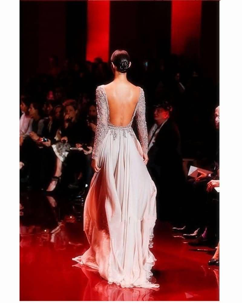 2017 Elie Saab Rosa Long Sleeves Prom Kleider Bling Perlen Kristall Long Sleeves Bateau Ausschnitt Lange Braut Party Abendkleider