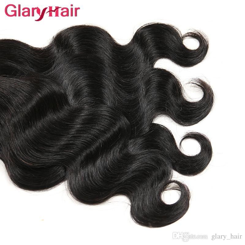 Супер хороший Glary тела волна волос ткет Виргинские бразильские человеческих волос расширения Mix заказать реальные дешевые Реми человеческих волос пучки 1b естественный цвет