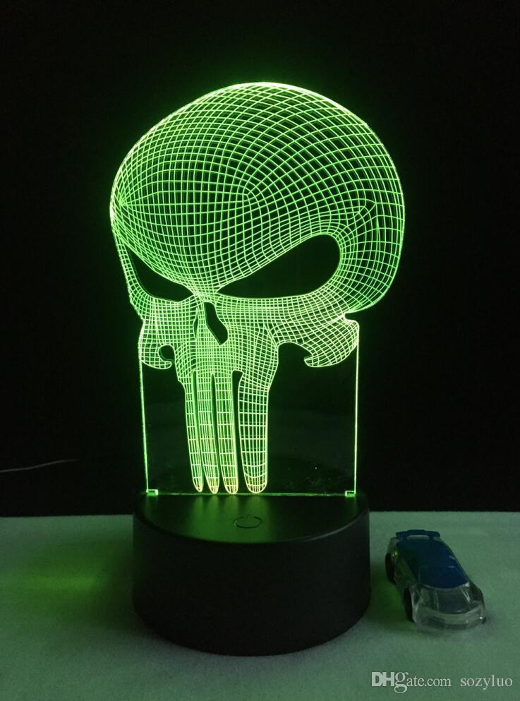 Neue Mode Neuheit Lange Mund Skeleton Motorrad Romantische Riesenrad Adler 3D Bunte Gradienten LED Kind Kind Baby Schlafzimmer Nachtlicht