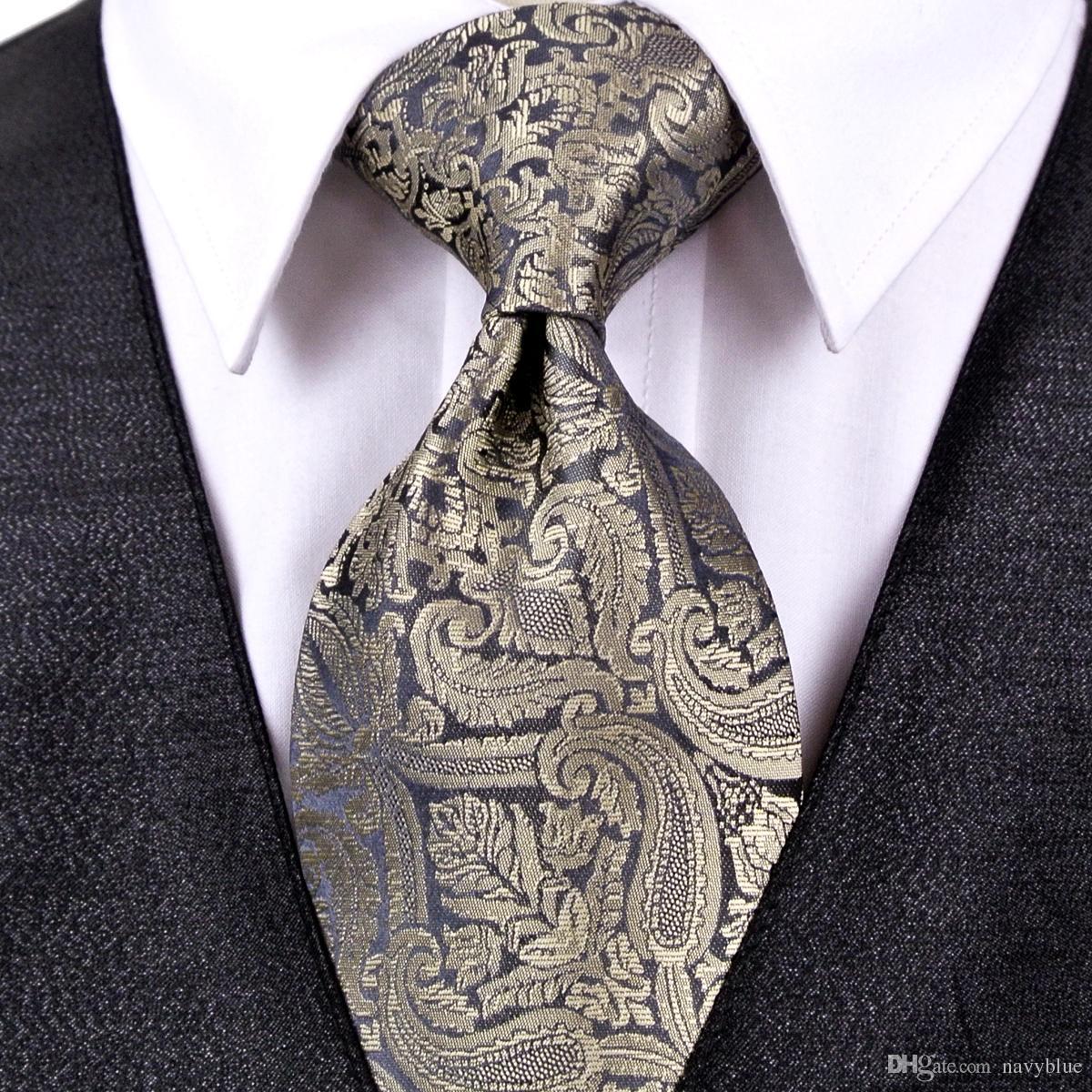 8a2629b9f677 J20 Paisley Multicolor Champagne Khaki Black Dark Gray Mens Ties Neckties  Pocket Square 100% Silk Tie Set Wholesale Tie Bow Tie Ties For Men From  Navyblue, ...