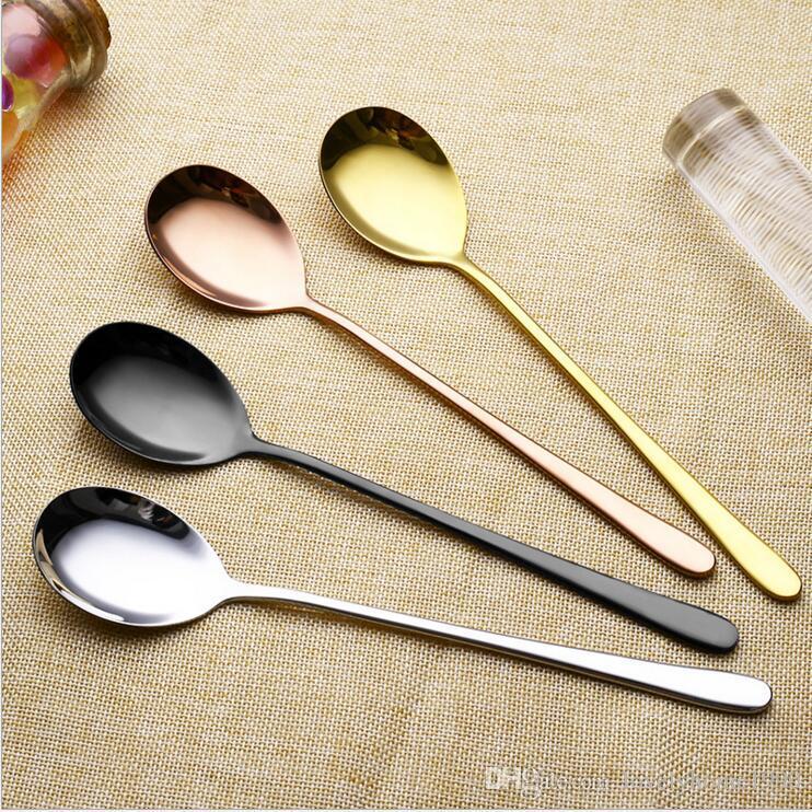 2 pezzi in acciaio inox oro ghiaccio nero bacchette cucchiaio set lungo manico nero posate caffè gelato piccolo cucchiaio desser