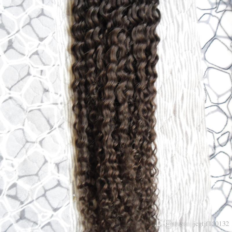 Doğal siyah kıvırcık mikro boncuk saç uzantıları 100g işlenmemiş perulu bakire saç mikro döngü İnsan saç uzantıları kinky 1 g / s 100 s