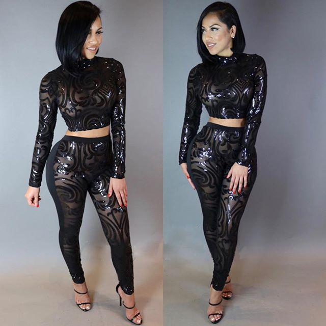 Wholesale- Adogirl Sequin Jumpsuit Summer Sexy Slim Turtleneck Bodysuit  Women Mesh See Through Long Sleeve Rompers Black White Bodysuits Women  Women High ...