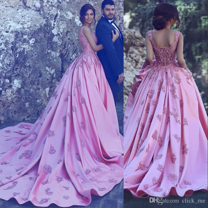70343b5e3bb Gorgeous Pink Prom Dresses Long Sweetheart Lace Appliques Romantic Bridal  Gowns Satin A Line Long Train Celebrity Formal Evening Dress Prom Dresses  Short ...