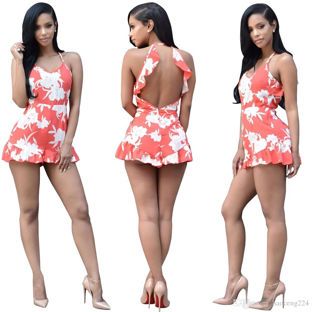 a2acee579b1d America Hot Sale Women Dress Floral Printed Fashion Jumpsuits Sleeveless  Backless Rompers Women Jumpsuits Rompers Short Jumpsuits Online with   22.34 Piece ...