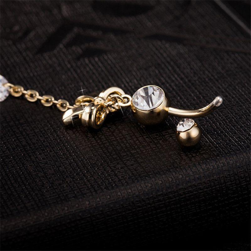 BOWKONOT 18K позолоченные позолоченные пупок цепи кубического циркония кольцо бегство животно-корпус кузова пирсинг