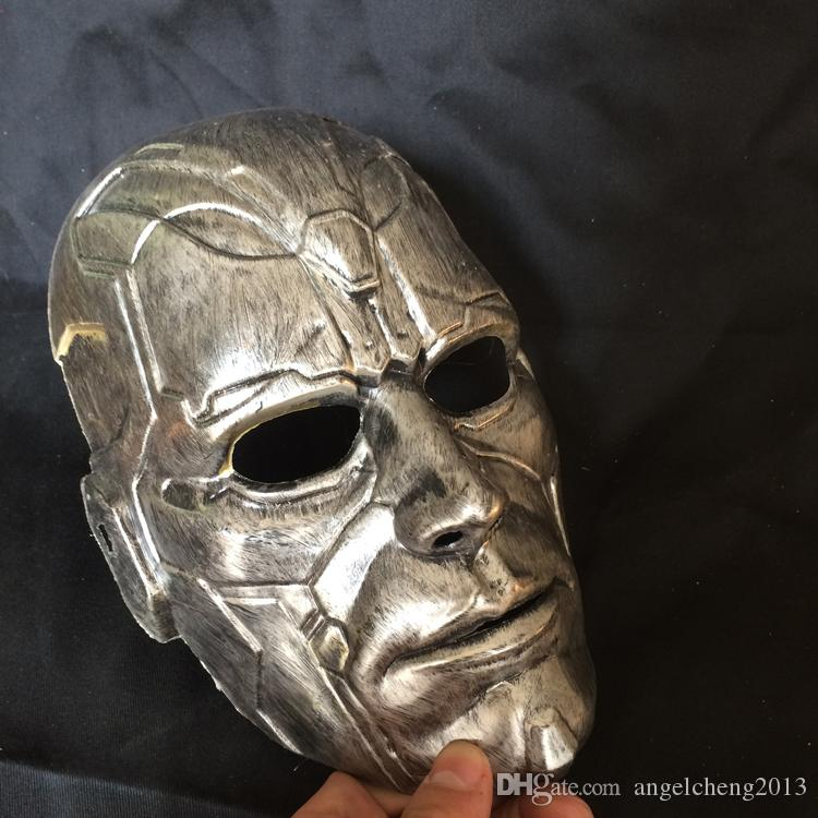 Retro Vintage Stone Man Full Head Mask Halloween Masquerade Costume Mask Cosplay 2 Clour Gold and SIlver