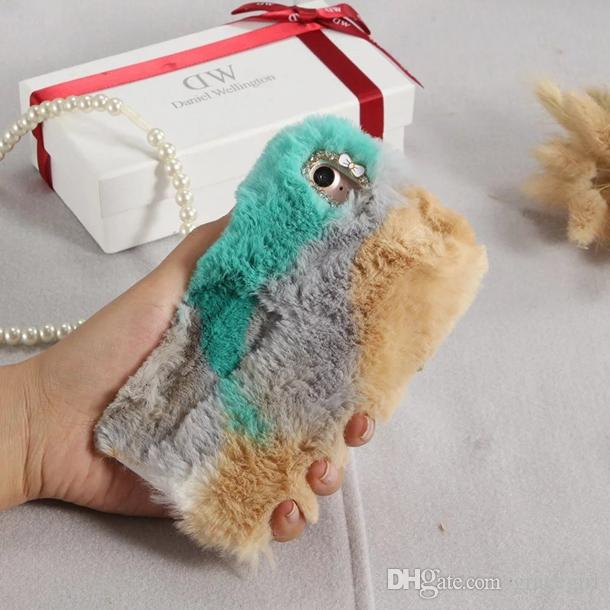 Diamant Fuzzy Rabbit Hair Fur TPU Fall für iPhone 8 7 Plus 6 6 S SE 5 5 S LG G5 Huawei P9 Lite Ehre 8 bunte Mode Plüsch-Telefon-Abdeckung