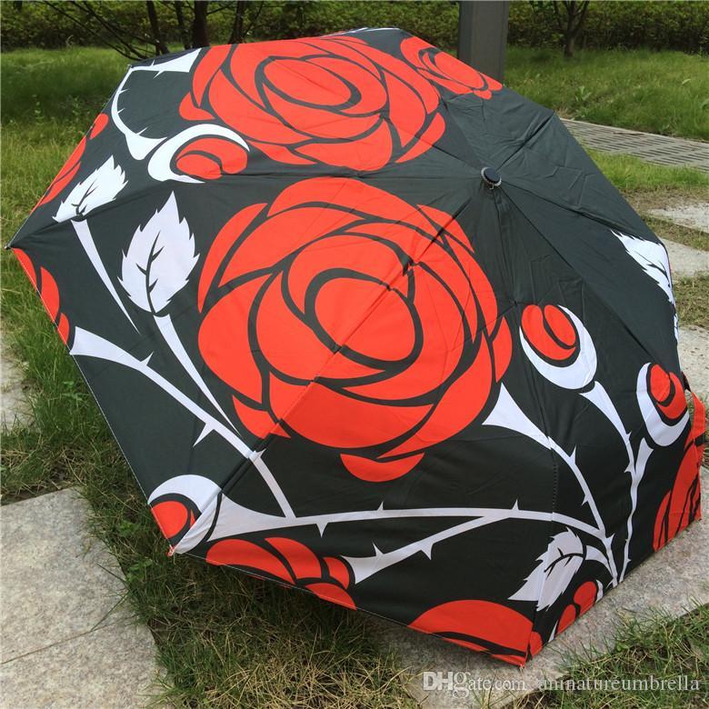 2017 New Novelty Items Oil Painting Arts Umbrella Rain women Creative Famous Brand Mujer Paraguas Anti-UV Fashion Parasol Rose Blossom