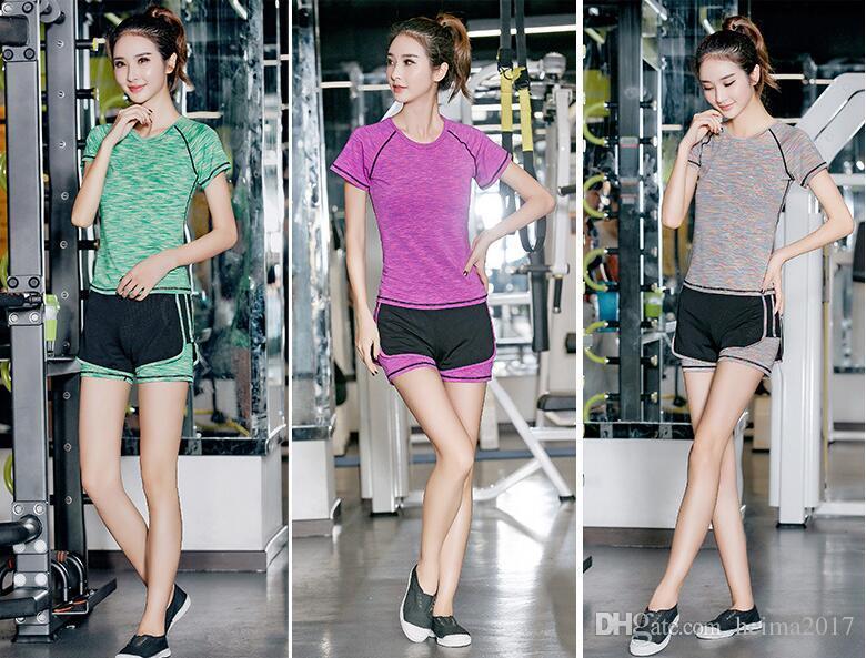 Nueva Sexy Girl GYM Sport Suit Compression Fitness traje Medias Entrenamiento Top Sportswear Leggings Yoga Chandal de mujer