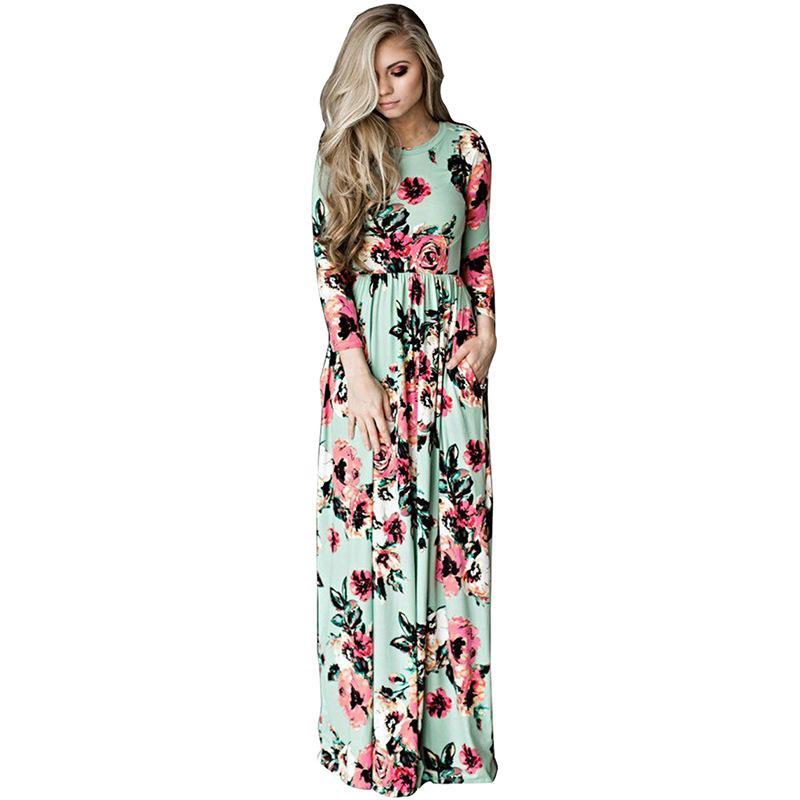 8e539dcf7c Compre Maxi Vestidos Casual Floral De Impresión Fiesta De La Vendimia Vestido  Largo Temperamento Elegante Slim Fit Cuello Redondo De Gama Alta Ropa De  Mujer ...