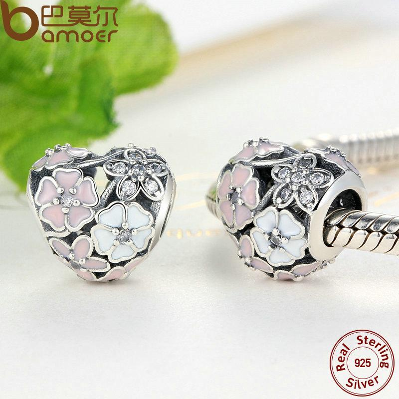 f21a19598ef12 Pandora Style 925 Silver Jewelry Poetic Blooms, Mixed Enamels & Clear CZ  Heart Charms Fit BME Bracelet Accessories for Women PAS283