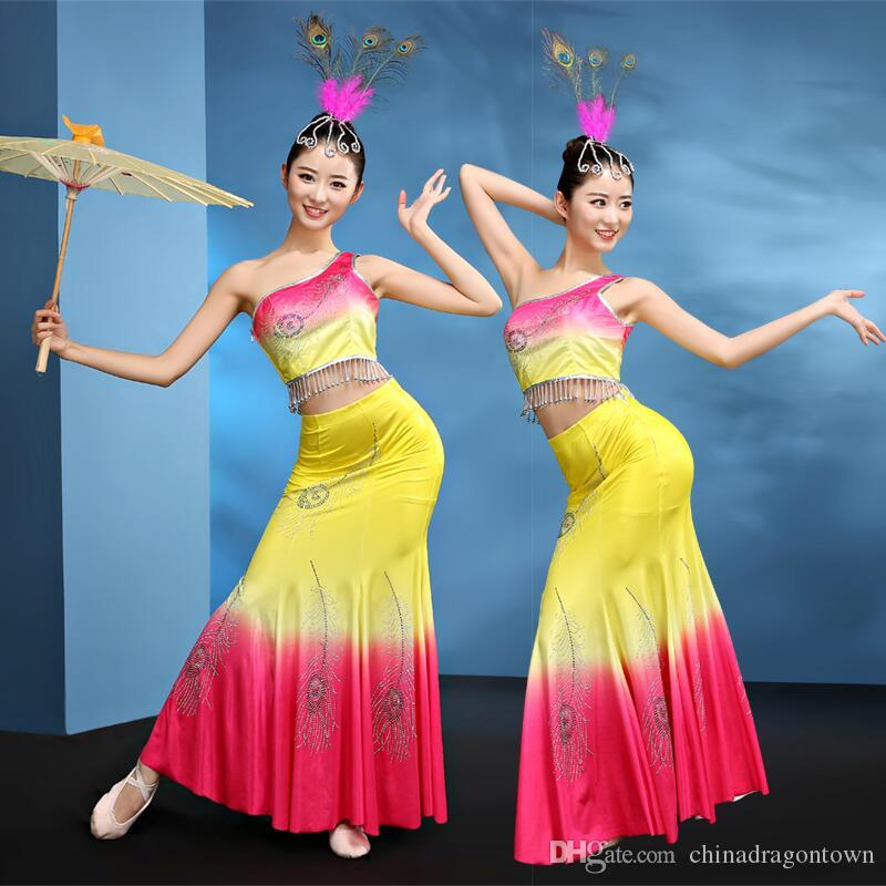 b74cbab9d 2019 Woman Thailand Dai Dance Clothing Mermaid Style Chinese Classical Stage  Performance Costume Ethnic Minority Peacock Dance Wear From  Chinadragontown, ...