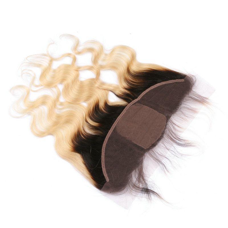 Blonde Ombre Soie Base Full Lace Fermeture 13x4 Avec Weaves Ondulés 3Bundles 1B / 613 Deux Tons Ombre Vierge Cheveux Avec Soie Top Frontal