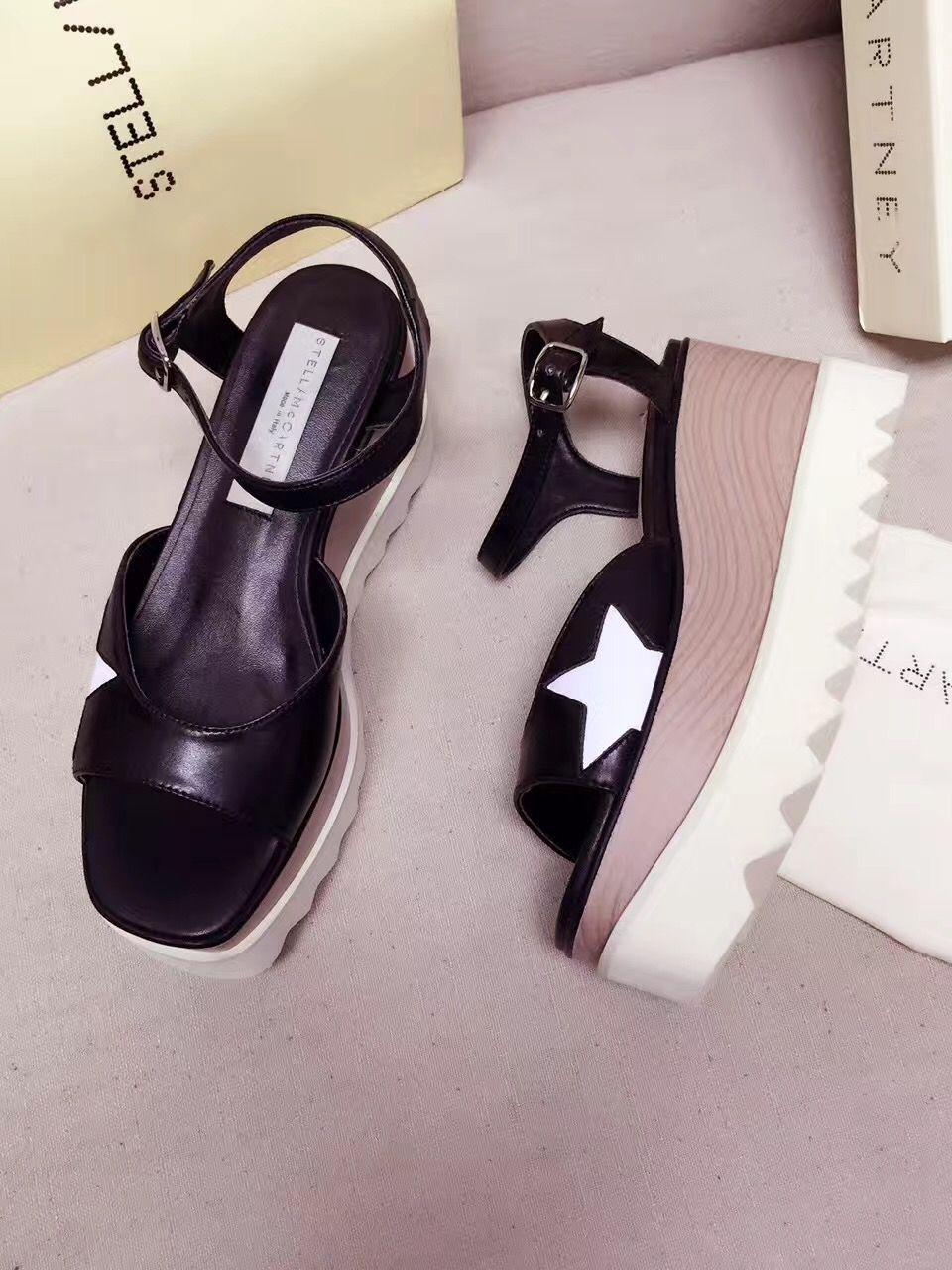 55c66926d0af 2017 Summer Stella Mccartney Star Sandals Genuine Leather Elyse Platform Women  Shoes Sandals For Women Knee High Gladiator Sandals From Luischen