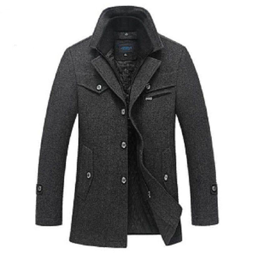 Acquista All ingrosso Inverno Cappotto Di Lana Uomini Spessa Giacca Calda  Moda Uomo Palto Maschile Giacche Casual Soprabito Cappotti Di Pisello Di  Lana Plus ... 33d16327ca6