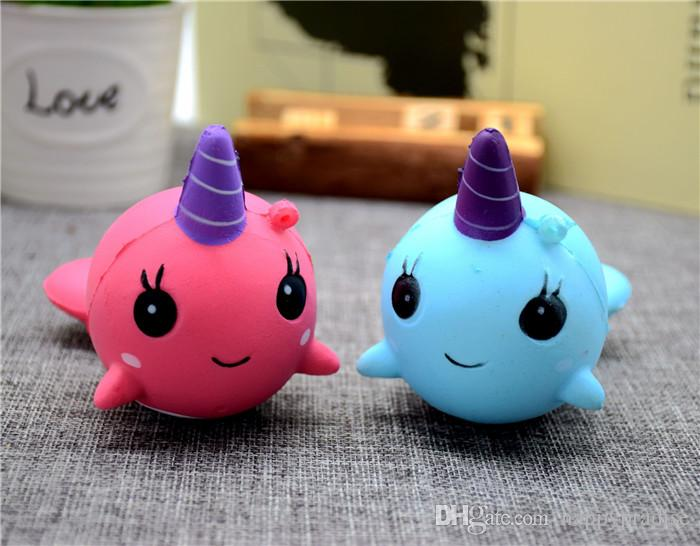DHL Cute Squishy Narwhal Unicorn Whale Blue Slow Rising Cute Soft Stress Relief Toys Slow Rising ...