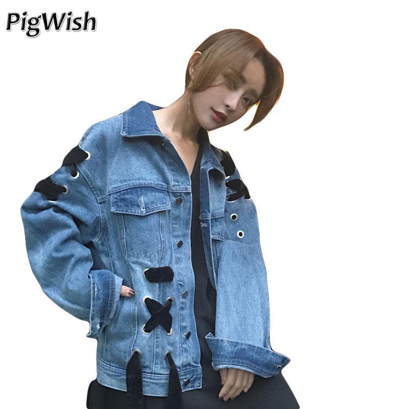 quality design 9fb44 03be2 Giacca di jeans oversize 2017 Giacca di jeans da donna Cappotti di base  Casual Allentato Fasciatura Giacca di jeans Vintage Giacca a vento da donna