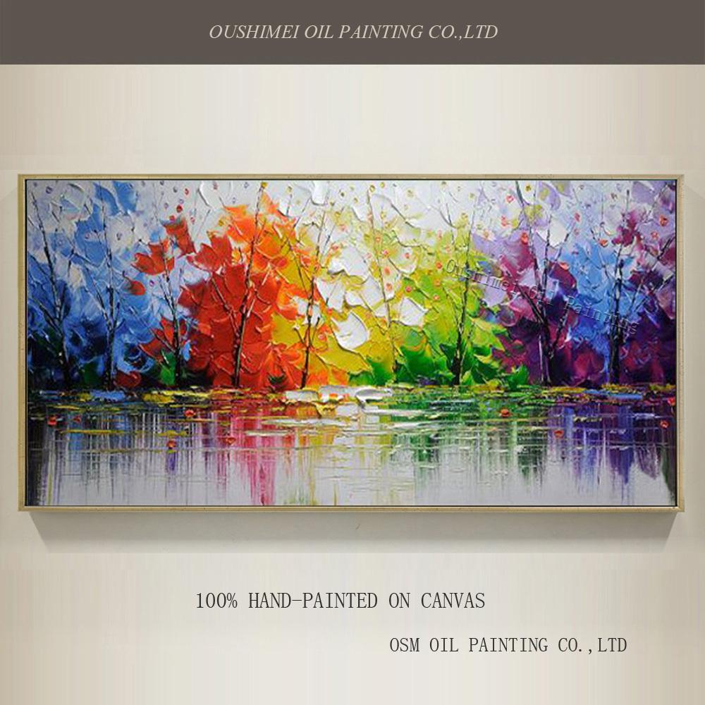 Wholesale High Quality Abstract Trees Oil Painting On Canvas Handmade Beautiful Colors Landscape Paintings Joke Shop Gifts Jokey