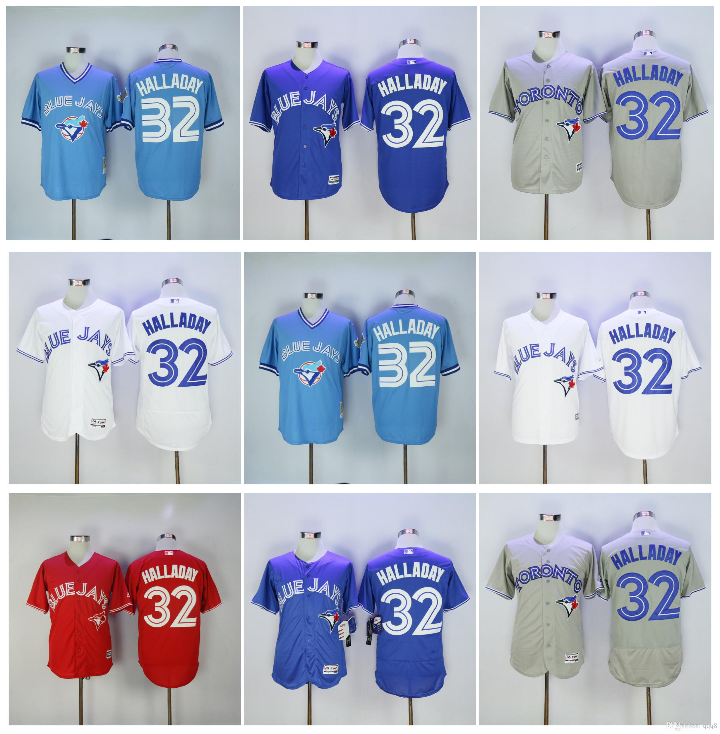 025cc0ff9 ... toronto blue jays 32 roy halladay grey new cool base stitched baseball  jersey