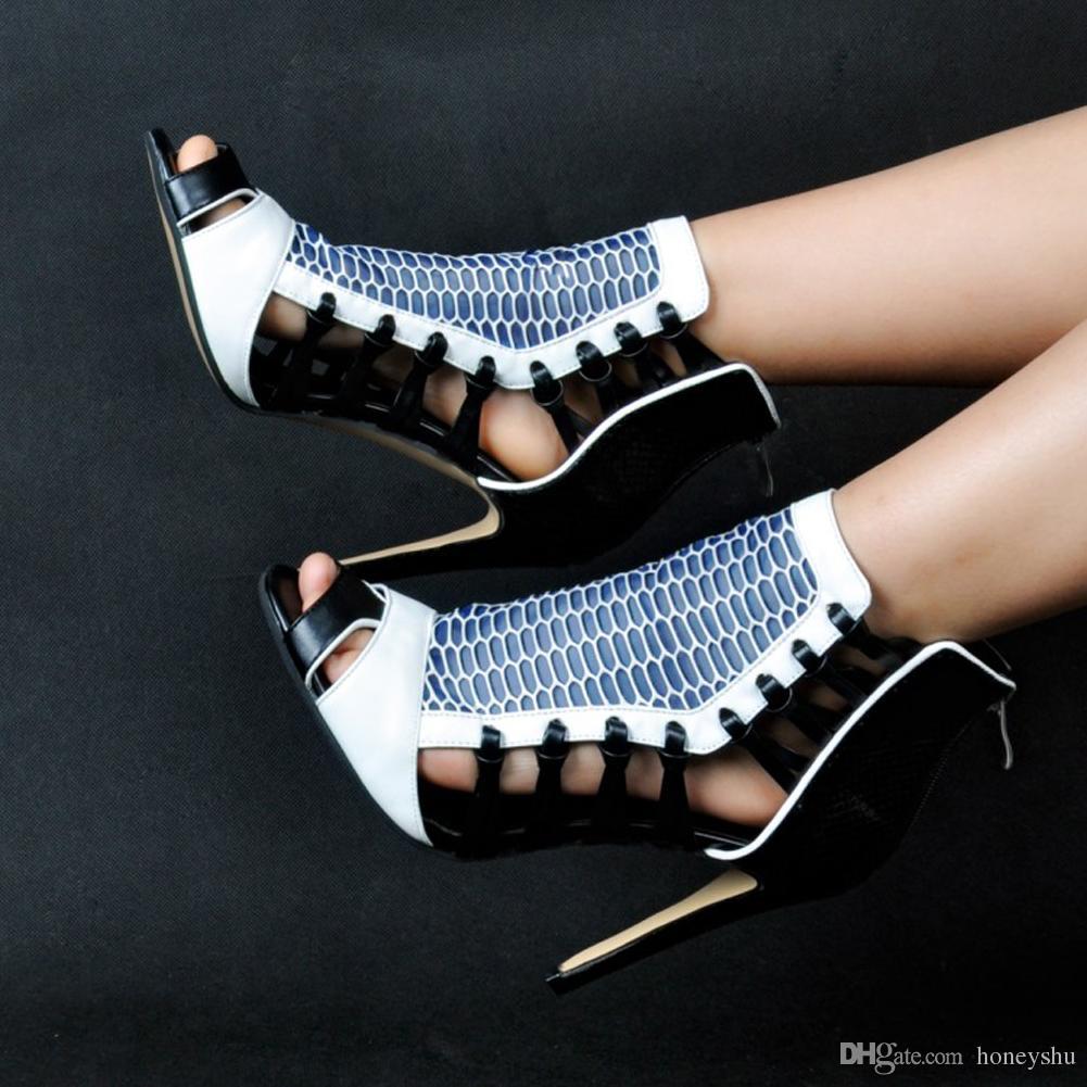 Kolnoo Womens 11cm High Heel Sandals Patchwork Evening Shoes Dragqueen for Wedding Party Dress Black XD267