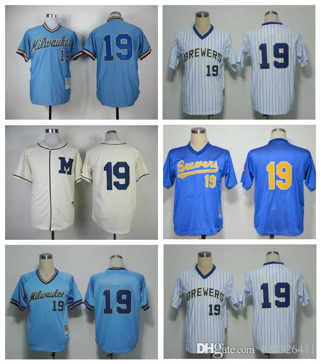 hot sale online 62c68 06f21 france mitchell and ness 1991 brewers 19 robin yount blue ...