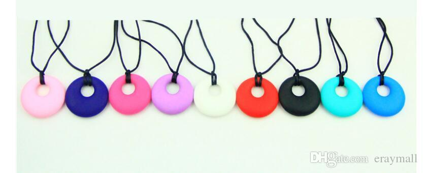 Silicone Teething necklaces FDA Silicone pendants necklace baby teethers mom silicone jewelry necklaces nine colors can choose 399