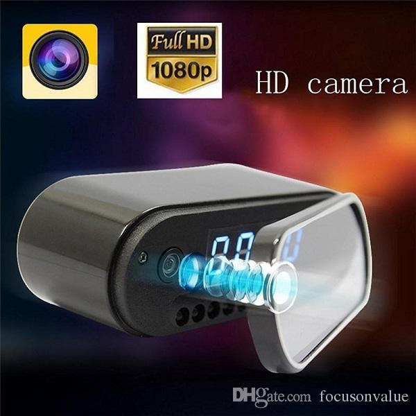 WiFi Clock mini IP P2P Camera 1080P with night vision 160 degree Wide Angle alarm clock DVR remote monitor home security Nanny camera