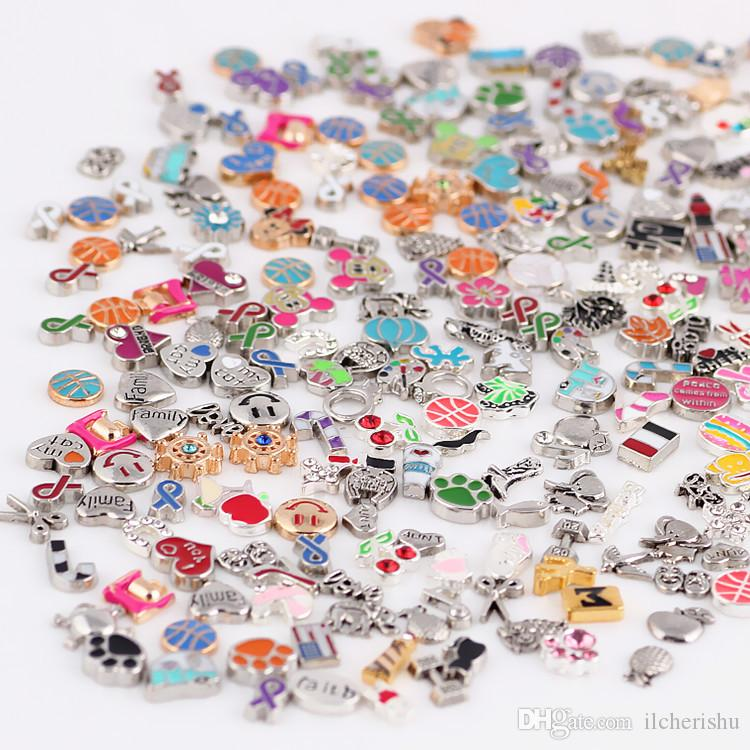 Wholesale mixed diy enamel floating charms for glass lockets, alloy silver & gold assorted metal beads for jewelry making locket charms bulk